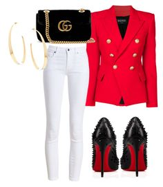"""""""Untitled #182"""" by chichimia on Polyvore featuring Balmain, Barbour, Gucci, Christian Louboutin and Lana"""