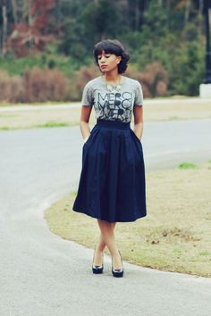T-shirt & Midi Skirt. Jen Perrin was doing this before anyone else realized it was cool.
