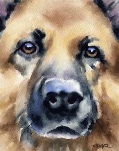 GERMAN SHEPHERD Dog Art Print Signed by Artist DJ by k9artgallery
