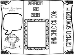 Anneler gunu Mother And Father, Fathers Day, Coloring Pages, Diy And Crafts, Kindergarten, Preschool, Classroom, Teaching, Activities
