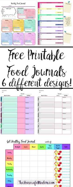 Find your perfect food journal for health and weight loss. Free Printable Food Journal: 6 different designs! Track food, water, exercise, & more. Design for your specific needs. Diet Journal, Weight Loss Journal, Fitness Journal, Fitness Planner, Food Planner, Exercise Planner, Fitness Diary, Planner Diy, Happy Planner