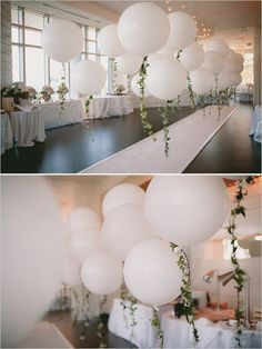 Vintage inspired wedding decoration details using balloons and leaf garlands