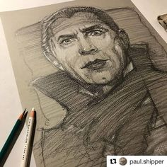#Repost @paul.shipper  #belalugosi #Dracula #portrait #sketch Recently created this sketch for a Christmas gift to a very special person in my life x