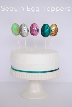 Sequin Egg Cake Topper on onecharmingparty.com #eastereggs