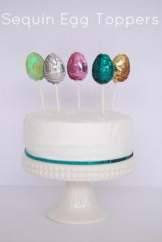 Sequin Egg Cake Topper on onecharmingparty.com #eastereggs
