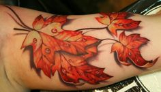 Lovely 3d effect autumn leaves tattoo