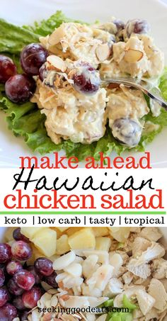 Keto Hawaiian Chicken Salad is a taste of the tropics you will love! A simple make-ahead recipe, this healthy salad is perfect for parties, cookouts, and leftovers. This low carb and keto chick Hawaiian Salad, Hawaiian Chicken Salad, Keto Chicken Salad, Recipe Chicken, Low Calorie Chicken Salad Recipe, Chicken Salad With Pineapple, Chicken Recipes, Side Dish Recipes, Low Carb Recipes