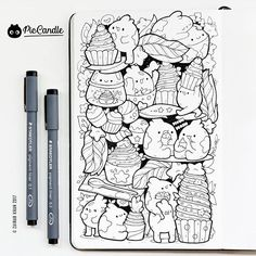 Thank you for all your likes and comments! Copic Drawings, Kawaii Drawings, Cute Drawings, Cute Doodle Art, Doodle Art Drawing, Kawaii Doodles, Cute Doodles, Vexx Art, Doddle Art