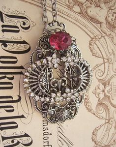 Cinderella necklace for the ball - One of a kind handmade vintage assembly pendant in antiqued silver with swarovski crystal