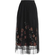 Floral Mesh Panel Skirt Black ($19) ❤ liked on Polyvore featuring skirts