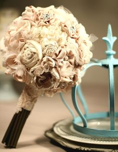 Fabric flowers Wedding bouquet by 5Ssens on Etsy, $380.00