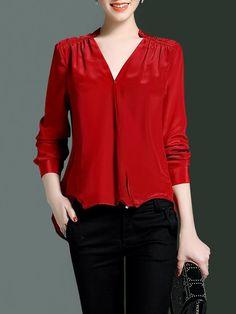 Shop Blouses - Beige High Low Simple Silk V Neck Blouse online. Discover unique designers fashion at StyleWe.com.