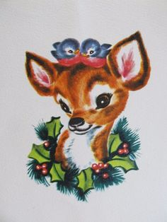 Vintage Christmas Card The Littlest Deer Blue Birds on Head Wreath Around Neck