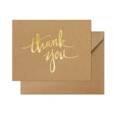 Paper Color kraft Ink Color gold foil Envelope Color kraft Envelope Liner none Printing Type letterpress Dimensions 4.25 x 5.5 inches Our Kraft Scratchy Thank You card is letterpress printed by hand o