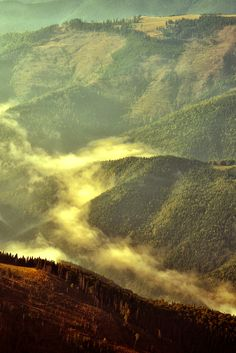 Fog coming out from Fagaras Mountains, Romania