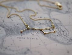 Delicate necklace with Ursa Major constellation. The constellation is casted in solid sterling silver and plated with 18k gold.  Dimensions: the Ursa