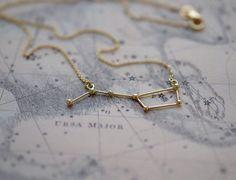 Oro sólido de 14k la Osa mayor de collar