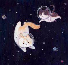 Original art, prints & products by Siamés Escalante. Art And Illustration, Illustration Mignonne, Arte Dope, Art Mignon, Cute Animal Drawings, Cat Wallpaper, Space Cat, Cat Drawing, Crazy Cats
