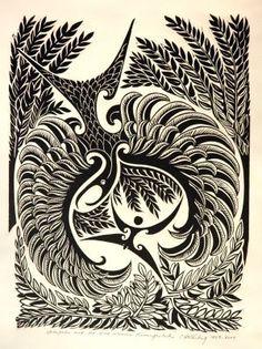 `Hatapatu and the birdwoman Kurangaituku` - 2008 Cliff Whiting, Lino Print signed and numbered Doodles Zentangles, Tangle Doodle, Collagraph, Maori Art, Laser Cut Wood, Cliff, Letterpress, Tribal Tattoos, Printmaking