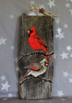 """Cardinals, songbird, authentic barnwood, rustic, hand painted, 5"""" x 12"""""""