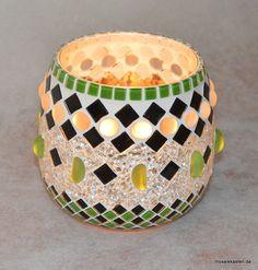 Windlicht grün schwarz spiegel 145 mm hoch von Mosaikkasten  Dekoration für Haus und Garten auf DaWanda.com