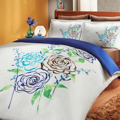 Sateen Duvet Cover Set Eldora – beautiful silk-like natural cotton Turkish sateen bedding set featuring elegant floral design, with royal blue, milk chocolate, and fresh greens colors! King Comforter Sets, Duvet Sets, Duvet Cover Sets, Green Colors, Bed Sheets, Comforters, Pillow Cases, Modern Design, Blanket