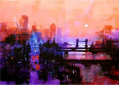 LONDON DAYBREAK by Colin Ruffell. Signed and numbered Fine-art print.