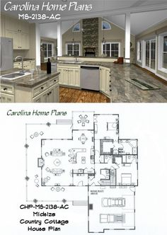 Cottage House Plan chp 44490   Our house plan ideas   Pinterest     Midsize Country Cottage House Plan with open floor plan layout  great for  entertaining