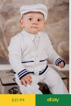509744581 Baby Boy White Navy Outfit Smart Wedding Party Suit Christening Baptism  Sailor