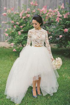A lacy two-piece wedding dress.