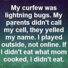 With the exception of the lightning bugs, all true. My curfew was the street light in front of my house coming on. That was all our curfews.