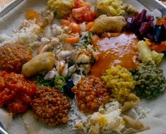 At Addis Abeba restaurant in Paris, delicious Ethiopian cuisine is served on communal platters like this one, accompanied by a porous, slightly sour crepe.