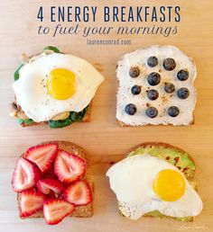 Good Eats: Energy Breakfasts   Egg, Spinach & Mushrooms,  Greek Yogurt, Blueberries & Cinnamon,  Peanut Butter & Strawberries, Egg, Avocado & Crushed Red Pepper Flakes All on Ezekiel Bread which is made from sprouted live grains & contains NO flour.