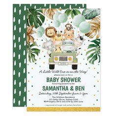 1st Birthday Invitations, Baby Shower Invitations For Boys, Baby Shower Themes, Baby Boy Shower, Safari Theme Baby Shower, Shower Ideas, Sprinkle Invitations, Baby Invitations, Safari Nursery