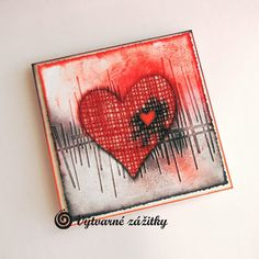 VyZa: Valentýnka. Valentine card. Heart, embossing folder, blending.