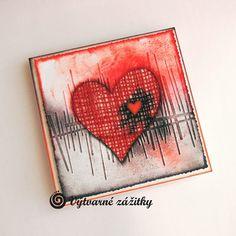 VyZa: Valentýnka. Valentine card. Heart, embossing folder, blending.