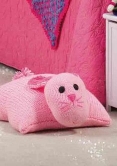 Knit up an adorable Cozy Bunny Pillow with soft and cuddly supplies @ joann.com - FREE TUTORIAL.