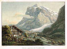 Glacier supérieur du Grindelwald - Aquatinte XIXe par Hurlimann d'après L. Bantli - MAS Estampes Anciennes - MAS Antique Prints