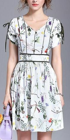 Floral Print Line-Contrast Dress-White