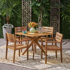 Shop Stamford Outdoor 5 Piece Acacia Wood Dining Set wit X Base by Christopher Knight Home - On Sale - Overstock - 26290155 487$
