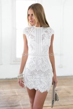 49 Elegant White Lace Dress Outfit Ideas for Winter Hoco Dresses, Pretty Dresses, Homecoming Dresses, Women's Dresses, Beautiful Dresses, Dress Outfits, Casual Dresses, Dress Up, Formal Dresses