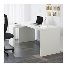 IKEA - MALM, Desk with pull-out panel, brown stained ash veneer, , The pull-out panel gives you an extra work surface.You can collect cables and extension leads on the shelf under the table top, so they're hidden but still close at hand.You can mount the pull-out panel to the left or right according to your needs.Can be placed in the middle of a room because the back is finished.