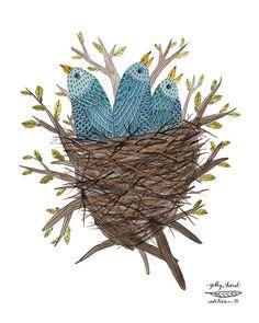 Bluebird Fledglings Print baby birds birds nest bird by GollyBard