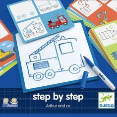 tekenkaarten step by step voertuigen djeco | ilovespeelgoed.nl