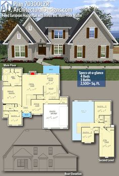 Architectural Designs Home Plan 70300LZR Gives You 4 Bedrooms, 3 Baths And  2,500+ Sq