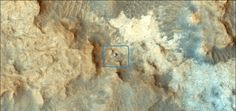 NASA's Mars Reconnaissance Orbiter took this image of the Curiosity rover (inset) on the surface of the Red Planet on Dec. 13, 2014. Image released Feb. 5, 2015. Read the Full Story.