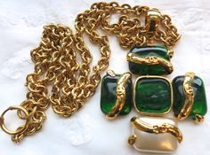 Vintage Chanel 94P Emerald Green Gripoix Glass Maltese Cross Necklace