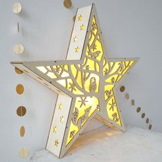 Large Natural Wooden Star Winter Night Light Ornament