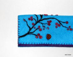 cherry blossom checkbook/wallet #felt #craft #needle felted