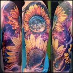 Amazing Cosmic Tattoos By Carlos Ransom - diy tattoo images Watercolor Sunflower Tattoo, Sunflower Tattoo Sleeve, Sunflower Tattoos, Sunflower Tattoo Design, Watercolor Tattoos, Abstract Watercolor, Cute Tattoos, Beautiful Tattoos, Wrist Tattoos